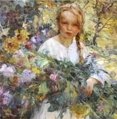 Luis Graner Y Arrufi (Spanish-born American artist, 1863–1929) Girl with Flowers