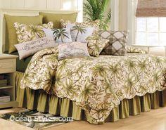 Twin Quilt Set C&F Williamsburg Tropical Barbados Sand Palm Tree Cotton Bedding Palm Tree Bedding, Tropical Bedding, Beach Bedding Sets, Comforter Sets, Cotton Bedding, Quilt Bedding, Twin Quilt, Barbados