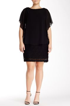 Sandra Darren - Lace Tiered Dress (Plus Size) at Nordstrom Rack. Free Shipping on orders over $100.