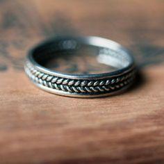Sterling silver braided ring - unisex wedding band - mens wedding band - wheat…