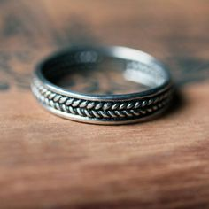 Sterling silver braided ring - unisex wedding band - mens wedding band - wheat…