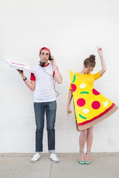 DIY Pizza Slice + Delivery Boy Couples Costume | Studio DIY