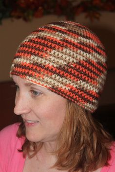 Orange and Brown Beanie Hat on Etsy, $10.00