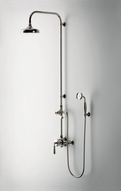 Polished Chrome Shower Fixture With Hand Held Sprayer. Easton Classic  Exposed Thermostatic System With Shower Rose And Lever Handles