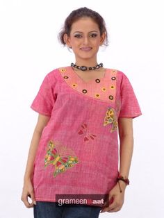 Butterfly Design Embroidery Work Ladies Blouse Tunic Top Kurta Kurti Haas Fashion. $46.00. Spun Cotton. Inner Lining to be avoid embroiderey itchiness.If you don't want the inner lining,Kindly inform us while you place the order.. Thigh length Short Sleeve top. Spun Cotton. Designer Ladies Blouses /Tunics/ Tops. Thread Embroidery Work