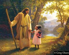 Hand in Hand by Greg Olsen. Jesus with child ✞⛪✞ Lds Pictures, Pictures Of Christ, Greg Olsen Art, Image Jesus, My Redeemer Lives, Lds Art, Daughter Of God, Daughters, Jesus Cristo