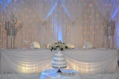 White with Silver Bling and light Blue Uplighting- With mint and gold lights instead of the blue