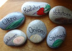 Items similar to Hand Painted Stone Vegetable Garden Markers on Etsy Engel Silhouette, Cactus Vert, Vegetable Garden Markers, Vegetable Gardening, Rock Plants, Gardening For Dummies, Fete Halloween, Plant Markers, Hand Painted Rocks