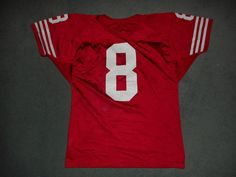 Men's Vintage Red & White SAN FRANCISCO 49ers #8 NFL WILSON Jersey, Size S, GUC! #WILSON #SanFrancisco49ers