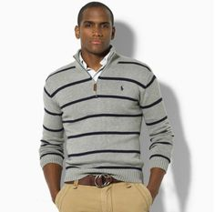 This is a great example of mixing warm and cool tones.  This concrete grey & navy Ralph Lauren wool blend sweater looks great worn with khakis and a brown belt.  Did you know that horizontal strips make you look wider?  Some men may like to implement this tip, especially in the upper body.  #3shahs