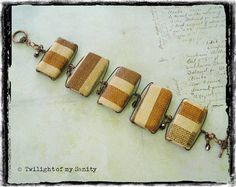 ON SALE, 20% OFF, Brown stripe bamboo tiles with copper glass beads, bracelet by TwilightOfMySanity, €11.20