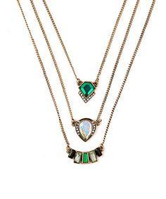 Look at this #zulilyfind! Green & White Crystal Necklace Set #zulilyfinds