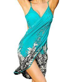Women's Summer Beachwear Bikini Swimwear Cover-ups with Flower Print, Turquoise at Amazon Women's Clothing store: