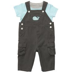 2-Piece Overall Set | Baby Boy Little Whale