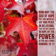 Romans 15:13 Now may the God of hope fill you with all joy and peace in believing, that you may abound in hope by the power of the Holy Spirit.