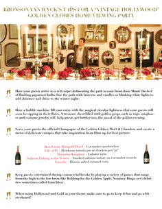 Bronson van Wyck's - 5 Tips For Your Own Vintage Hollywood Golden Globe Party