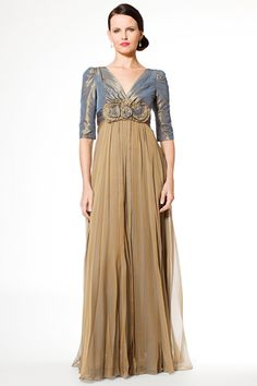 a245afdac265 Three Quarter Sleeve Taffeta and Chiffon Mother of the Bride Gown. Helen  Ainson