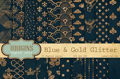 Blue and Gold Glitter Digital Paper