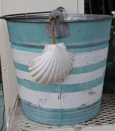 aqua beach pail, galvanized bucket painted ad shell, super cute