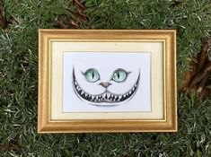 Cheshire Cat Grin This drawing features the mysterious and mischievous Cheshire Cat from Lewis Carrolls Alices Adventures in Wonderland. His grin is in keeping with the proverbial phrase, grinning like a Cheshire cat. But I dont want to go among mad people, Alice remarked. Oh, you cant help that, said the Cat: were all mad here. Im mad. Youre mad. How do you know Im mad? said Alice. You must be, said the Cat, or you wouldnt have come here. Dimensions: 4 x 6in. Medium: Ink, Colored Pencil…