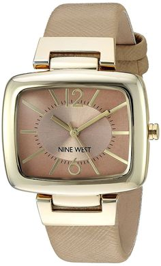 435df6578b2c Reloj Mujer Woman Watch Crystal Gold Beige Rubber Metal Case Hand Arm  Pulsera  NineWest