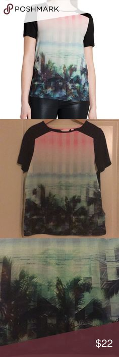 Ted Baker London trellah palm tree print top Ted Baker`s womenswear collection,  Short sleeve top, Tropical palm tree print, contrast sleeve, round neckline  Woven: 100% Polyester, Knit: 100% Lyocel.  Used but excellent condition  Size: 2 Ted Baker London Tops Blouses