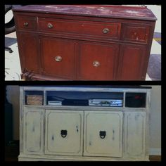 Make a cool entertainment center that matches your decor!!!!   Love how paint transforms old furniture with good bones!!!