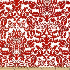 Premier Prints LIPSTICK Red and White AMSTERDAM slub fabric  1 Full Yard from The Fabric Dock