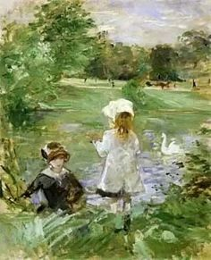 Berthe Morisot - On the Shore of the Lake, 1883 (Musee Marmottan Monet - Paris France) at Museo Thyssen-Bornemisza Madrid Spain: Claude Monet, Edouard Manet, Pierre Auguste Renoir, Camille Pissarro, Artist Monet, Berthe Morisot, Monet Paintings, Impressionist Paintings, Beautiful Paintings