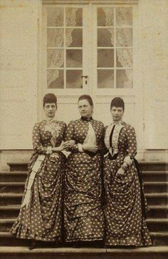 Queen Alexandra of The United Kingdom Nee Princess of Denmark with her sister InLaw Queen Olga of Greece Princess of Denmark Nee The Grand Duchess Olga Constantinovna of Russia and her sister, Empress Maria Feodorovna of Russia Nee Princess Dagmar of Denmark, also mother of Tsar Nicholas ll of Russia. #theromanovs