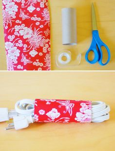 Toilet Paper Roll Power Cord Storage | 21 Toilet Paper Roll Craft Ideas- could also ModPodge with fabric so the recycled tube would never break.  Love is in the details!
