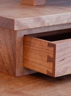 Handmade solid cherry hardwood dressing table, mission style with three hand-cut dovetail drawers and a swivel mirror. Dovetail Drawers, Dressing Table, Mirrors, Hardwood, Good Things, Furniture, Ideas, Home Decor, Natural Wood