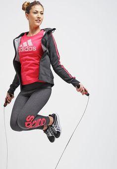 adidas Performance ESSENTIALS - Sudadera con cremallera - black vis melange/joy - Zalando.es