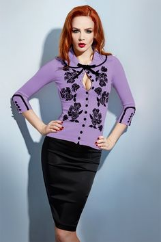 In an iconic collaboration between Dita Von Teese and Wheels & Dollbaby - we are pleased to offer a new limited edition National Velvet Dita Von Teese cardigan. This edition is inspired by the allure of Elizabeth Taylor's violet eyes in the blockbuster film!