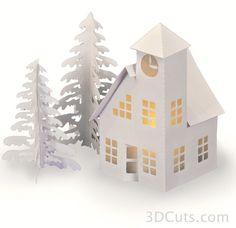 Silhouette Design Store: Tea Light Village Cottage And Barn 3d Paper Crafts, Paper Art, Paper Crafting, Wax Paper, Christmas Tea, Christmas Crafts, Xmas, 3d Cuts, Rena