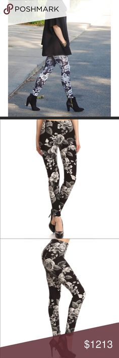 Black & White Floral Leggings Black & White Floral Pattern Leggings. Soft Brushed Fabric. 92% Polyester 8% Acrylic  ❌PRICE IS FIRM - 10% DISCOUNT OFF 3 OR MORE ITEMS❌ Couture Gypsy Pants Leggings