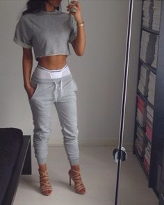 dress summer crop shirt underwear pants grey black denim crop tops cotton summer outfits top t-shirt Dope Outfits, Casual Outfits, Fashion Outfits, Womens Fashion, Heels Outfits, Hipster Outfits, Style Fashion, Summer Outfits, Fashion Trends