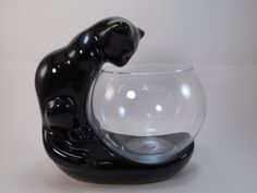 Vintage Haeger Black Cat and Glass Fish Bowl Black by AllycatAttic Glass Fish Bowl, Pots, French Signs, Cat Stands, Catfish, Makers Mark, Fun To Be One, Pottery Art, High Gloss