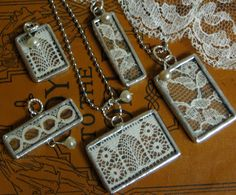 bits and tatters of vintage lace, encase them in little soldered glass frames and embellish with creamy, vintage pearls, you are left with dear, nostalgic keepsakes. Lace Jewelry, Jewelery, Vintage Jewelry, Handmade Jewelry, Crystal Jewelry, Gold Jewellery, Crystal Necklace, Jewelry Art, Diamond Jewelry