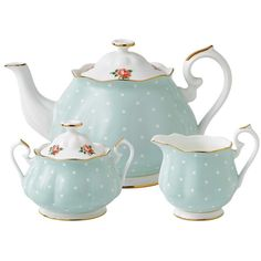 Royal Albert Polka Rose Vintage 3 Piece Tea Set
