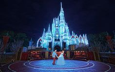 12 Magical GIFs That Bring Disney Characters to Life: Cinderella & Prince Charming in front of the Castle