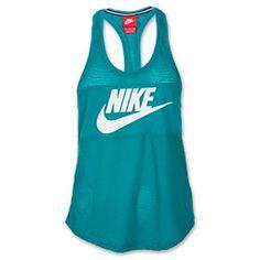 Women's Nike Three-D Tank| FinishLine.com | Turbo Green/White