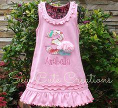 Personalized Chiffon Cupcake with number birthday Dress - Custom Made Sizes 12 mos-Girls 6X