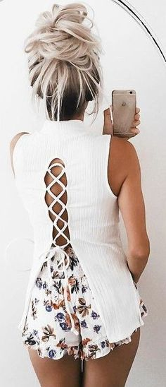 #summer #girly #outfits |  Lace Up + Floral