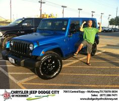 I've purchased 9 vehicles over the years and the experience was good but too much pressure. The Sales People at Chrysler Jeep Dodge McKinney were great. No pressure here. Howie, Callan, and Briggs were patient and helpful. My transaction was also easy with Mike the Finance guy.  Leo Manalo Wednesday, July 23, 2014