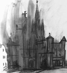 Norwich Cathedral, The West Front - Dennis Creffield - James Hyman: Fine Art and Photographs Building Drawing, Building Sketch, St Micheal, Norwich Cathedral, Landscape Drawings, Landscapes, Ways Of Seeing, Sense Of Place, Environmental Art