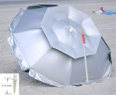 Special Offers - 6 ft Solar Guard Deluxe Dual Canopy Beach Umbrella UPF 150 Ultra Cool  Heavy Duty Wind / Water Resistant with Integrated Sand Anchor - In stock & Free Shipping. You can save more money! Check It (June 28 2016 at 11:40PM) >> http://gardenbenchusa.net/6-ft-solar-guard-deluxe-dual-canopy-beach-umbrella-upf-150-ultra-cool-heavy-duty-wind-water-resistant-with-integrated-sand-anchor/