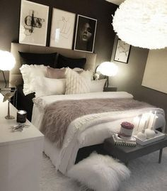 cozy grey and white bedroom ideas; bedroom ideas for small rooms; bedroom decor … - home decor on a budget bedroom Bedroom Decor Ideas Colour Schemes, Cute Bedroom Ideas, Room Ideas Bedroom, Small Room Bedroom, Dream Bedroom, Home Decor Bedroom, Girls Bedroom, Budget Bedroom, Color Schemes