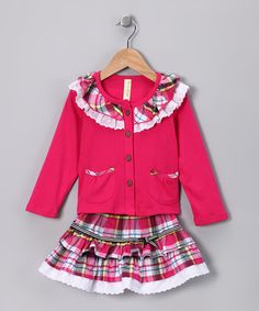 Take a look at this Pink Plaid Lace Ruffle Top & Skirt - Infant, Toddler & Girls by Maria Elena on #zulily today!