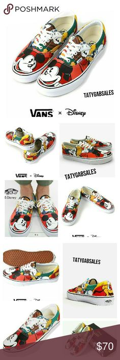 @HOST PICK@ Disney X Vans Era Mickey Friends MT Dedicated to those who are young at heart, the Mickey and Friends Disney Era combines the Vans classic low top skate shoe with a custom collage of Disney's original cast of friends: Mickey, Donald, Goofy, and Pluto.  The Disney Era also features sturdy canvas uppers with metal eyelets Signature waffle outsoles Padded collar and heel counters for support and flexibility. Vans Shoes Sneakers